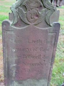 Isaac Bidwell's gravestone at the Memento Mori Cemetery, Farmington. Syntha Bells stole household goods from Bidwell and Daniel Newell in October 1766.